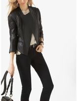 Michael Kors Leather and Ponte-Panel Jacket