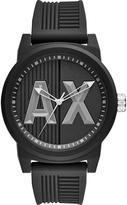 Armani Exchange Black Dial Black Silicone Strap Mens Watch