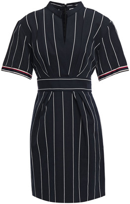 Sandro Francine Pleated Striped Cotton And Linen-blend Mini Dress