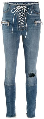 Unravel Project Lace-Up Skinny Jeans