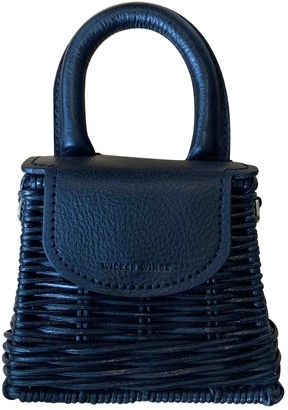 Wicker Wings Black Leather Handbags