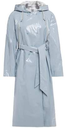 ALEXACHUNG Belted Coated Cotton-blend Hooded Raincoat
