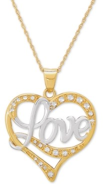 """Italian Gold Love Two-Tone 18"""" Pendant Necklace in 14k Gold & 14k White Gold"""