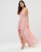 Adelyn Rae Gathered V Neck Maxi Dress