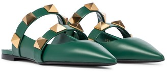 Valentino Roman Stud leather slippers