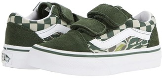Vans Kids Old Skool V (Little Kid) ((Camo Checkerboard) Kombu Green/True White) Boys Shoes