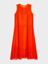 DKNY Embroidered Dress With Lace Trim