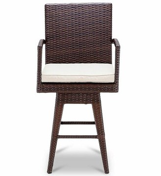 "Bronx Lacroix Swivel 26"" Patio Bar Stool with Cushion Ivy"