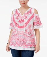 INC International Concepts Plus Size Cold-Shoulder Embroidered Top, Only at Macy's