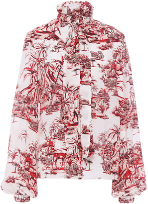 Stella Jean Pussy-bow Printed Silk Crepe De Chine Blouse