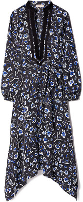 Tory Burch Floral Print Puffed-Sleeve Tunic Dress