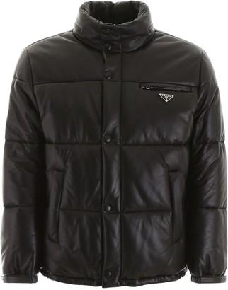 Prada Leather Padded Logo Plaque Jacket