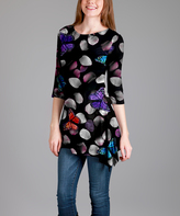 Lily Black Butterfly Sidetail Tunic - Plus Too