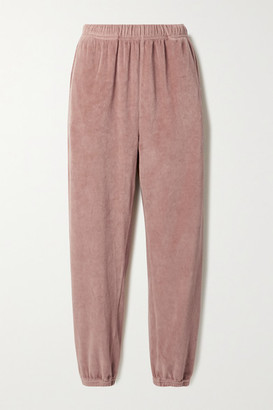 LES TIEN Cotton-blend Velour Track Pants - Antique rose