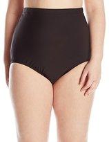 Penbrooke Women's Plus-Size Tummy Control Ultra High Waist Brief Bikini Bottom