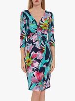 Gina Bacconi Drusilla Floral Jersey Dress, Navy/Pink