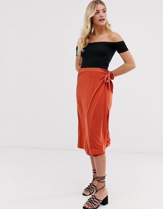 Pimkie tie side midi skirt in red