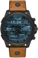 Diesel On Men's Full Guard Brown Leather Strap Smart Watch 48mm