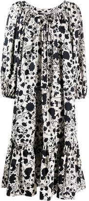 La DoubleJ Printed Long-Sleeved Midi Dress
