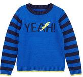 Petit Lem Blue Stripe-Sleeve 'Yeah!' Crewneck Sweater - Toddler & Boys
