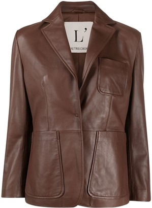 L'Autre Chose Single-Breasted Leather Jacket