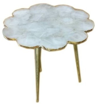 Bungalow Rose Aitken Agate Flower Natural Stone End Table Table Top Color: Aqua