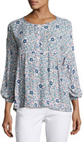 Max Studio 3/4-Sleeve Floral-Print Blouse, Blue Pattern
