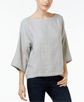 Eileen Fisher Organic Linen-Cotton Boat-Neck Top, Regular & Petite