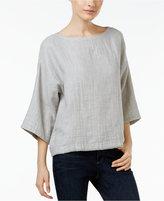 Eileen Fisher Organic Linen-Cotton Boat-Neck Top