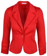 SODIAL(R) New Womens Color Blazer Jacket Suit Work Casual Basic Long Sleeve Candy Button Size L