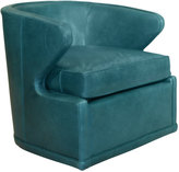 Horchow Dyna St. Clair Peacock Blue Swivel Chair