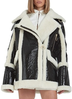 Nicole Benisti Montmartre Shearling Aviator Down Puffer-Back Jacket
