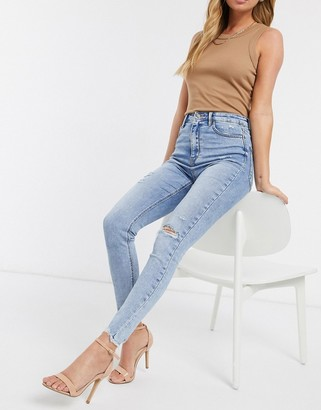 Stradivarius super high waist premium jeans with rips in light blue
