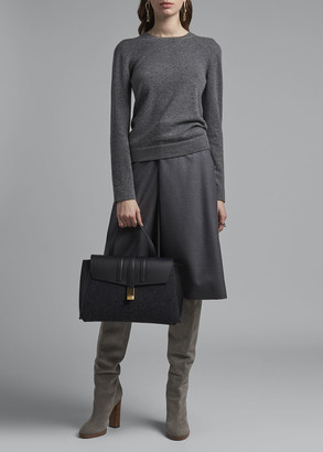Agnona Long-Sleeve Cashmere Crewneck Sweater with Tubular Finishing