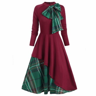 Rifuli Women's Plus Size Retro Plaid Contrast Bowknot Trim Long Sleeves Overlay Dresses Red