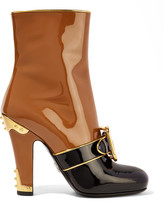 Prada Buckled Two-tone Patent-leather Boots - Tan