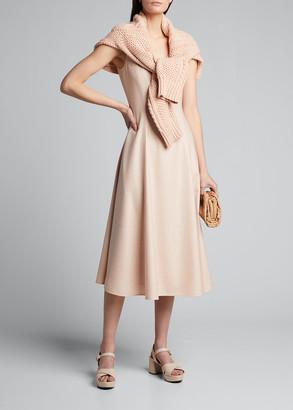 ADEAM Twill V-Neck Midi Dress