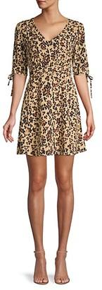Q&A Cheetah-Print Fit--Flare Dress