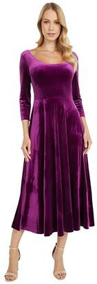 Norma Kamali KAMALIKULTURE by Long Sleeve Reversible Scoop Neck Flared Dress (Raspberry) Women's Dress