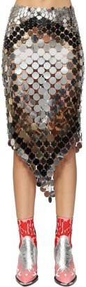 Paco Rabanne Asymmetric Round Sequin Mesh Skirt
