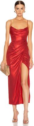 Galvan Mars Dress in Metallic Red | FWRD