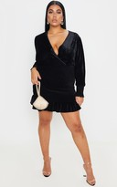 Zero Plus Black Velvet Ruched Skirt Bodycon Dress