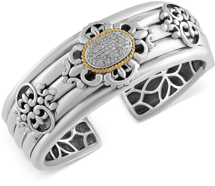 Effy Balissima Diamond Bangle Bracelet (1/3 ct. t.w.) in Sterling Silver and 18k Gold