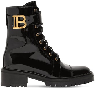 Balmain 50mm Patent Leather Combat Boots