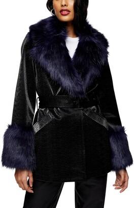 Topshop Monikh Faux Fur & Faux Leather Coat