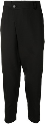 SONGZIO Asymmetric wrap-front cropped trousers