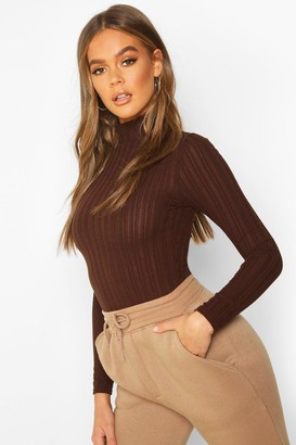 boohoo Long Sleeved Turtle Neck Rib Top