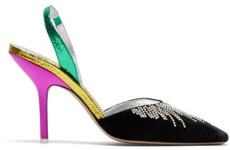 ATTICO The Mara Crystal-embellished Contrast-panel Pumps - Womens - Black Multi