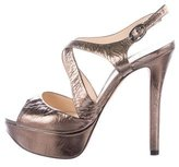 Alexandre Birman Metallic Crossover Strap Sandals