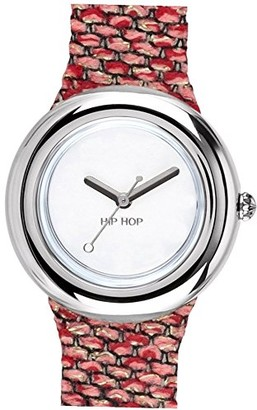 Watch HIP HOP Woman Metal dial White e watchband in Silicon Metal Pink-Silver Movement TIME JUST - 3H Quartz